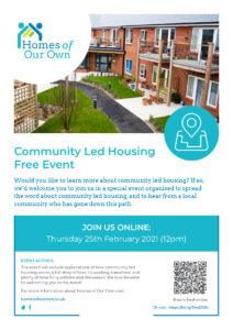Homes of Our Own Community Led Housing Spring Event Poster